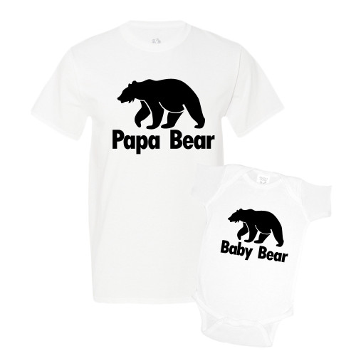 Daddy & Me White Set - Papa/Baby Bear