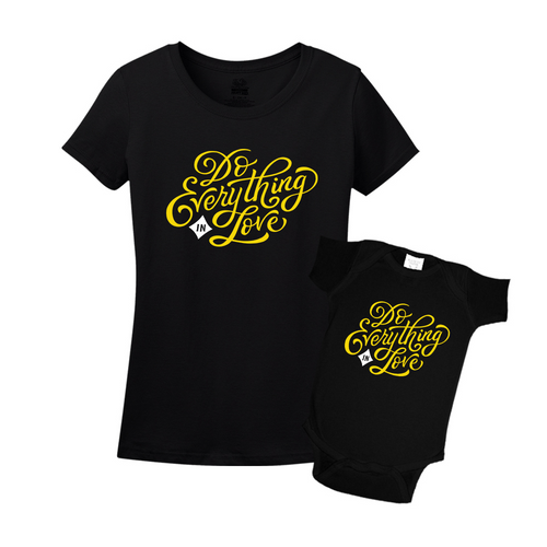 Mommy & Me Black/Yellow Set - Love