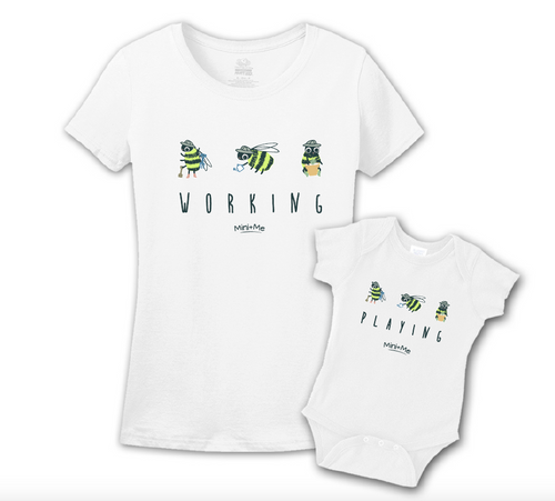Mommy & Me White Set - Working/Playing Bee