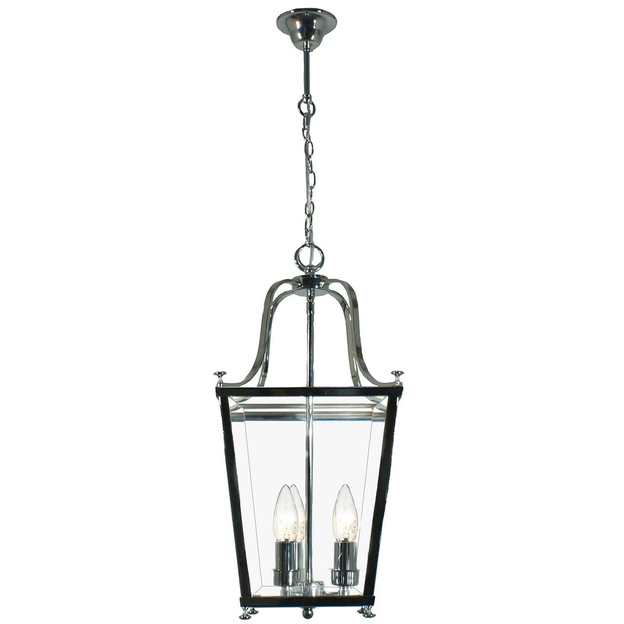Montana 3 Light Chrome Glass Lantern Pendant Zest Lighting