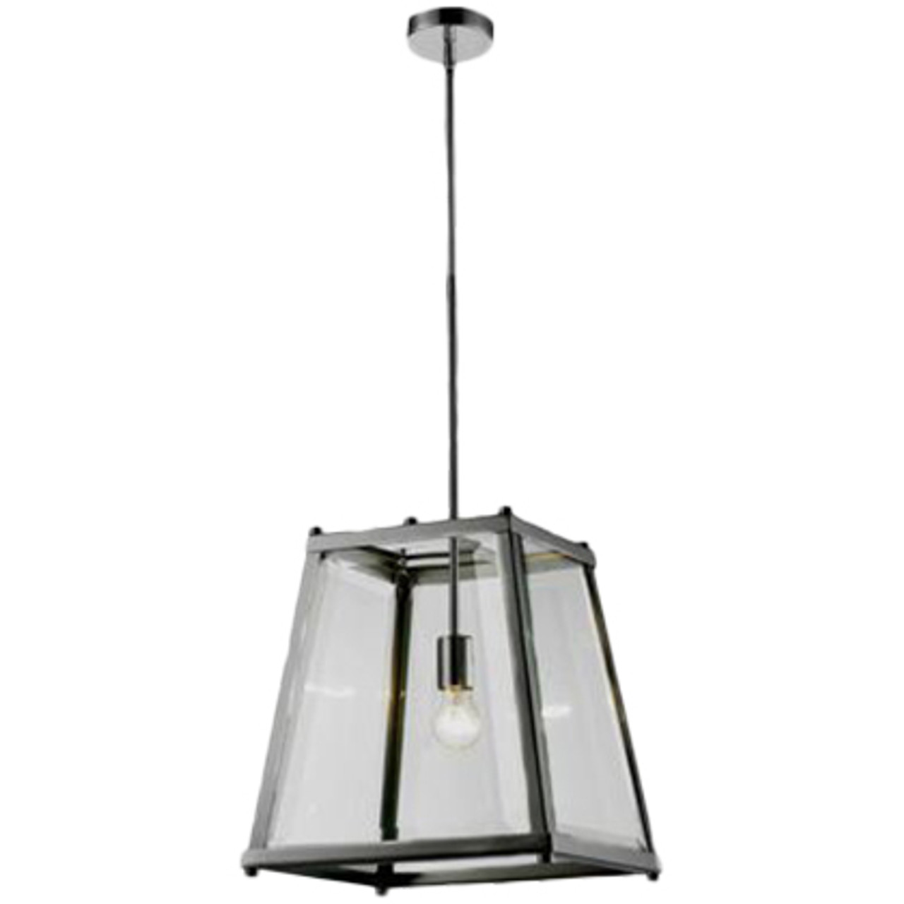 Citadel 1 Light Chrome Glass Lantern Pendant Zest Lighting