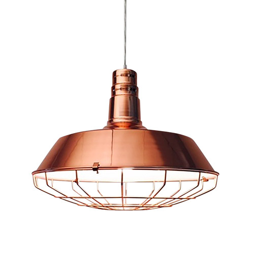 Industrial Copper Cage Pendant Light