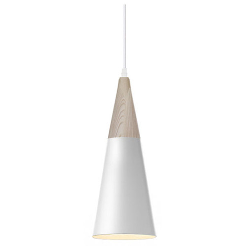 Wood White Metal Cone Pendant Light