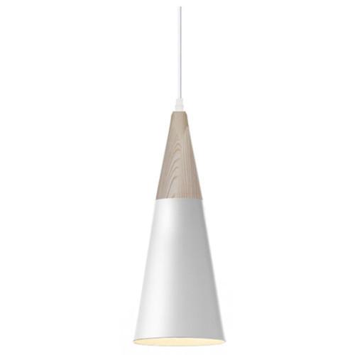 Wood White Metal Cone Pendant Light