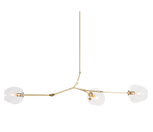 Replica Branching Bubble Chandelier - 3 Light - Brass Body - Clear Glass
