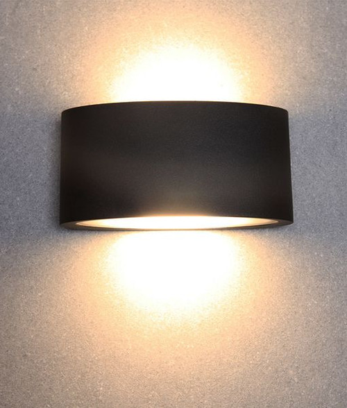 Round Curve Led Exterior Wall Light - Black