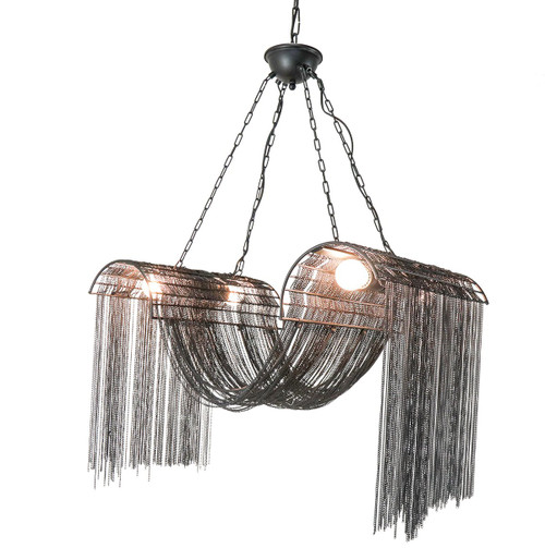 BLACK METAL WAVE CHAIN CHANDELIER