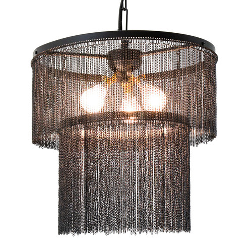 BLACK METAL CHAIN CHANDELIER