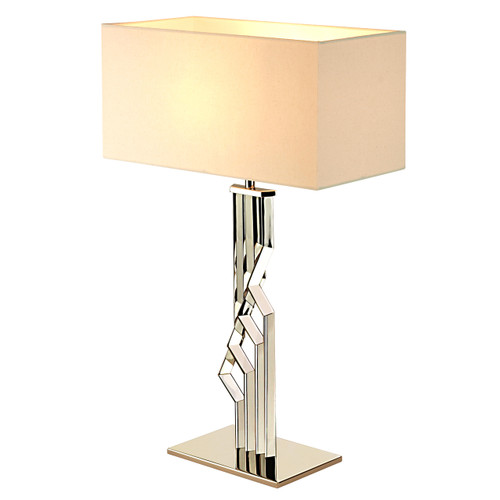 Zig Zag Table Lamp-White Linen Shade