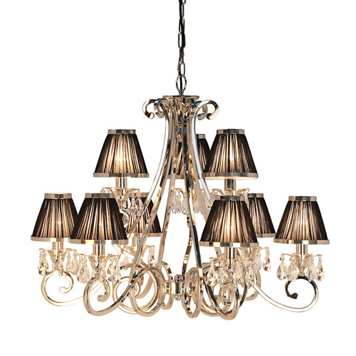 Luxuria 9 Light Chandelier-Black Shade