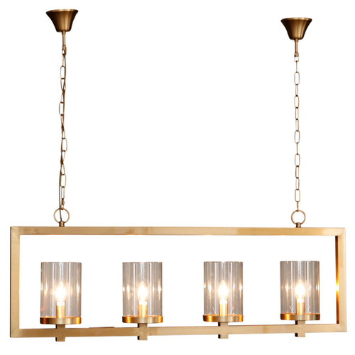4 Light Black Iron Glass Pendant Light - Gold/Brass