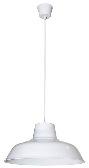 Large Retro Warehouse Pendant Light-White