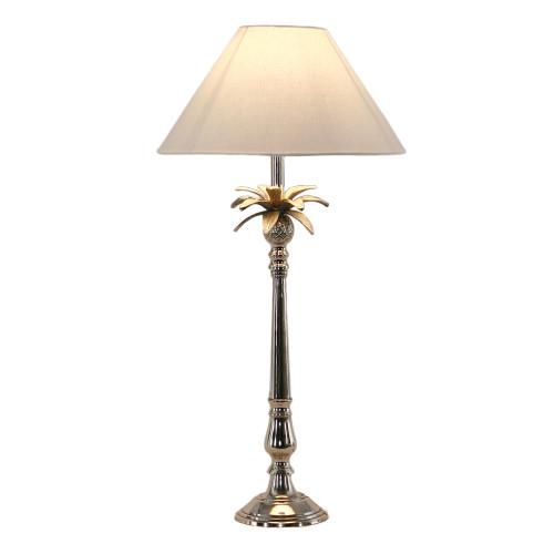 Nickel Pineapple Leaf Table Lamp - White