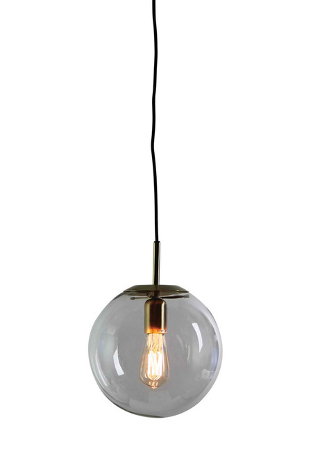 Contemporary Clear Glass Pendant Light-Brushed Brass Small