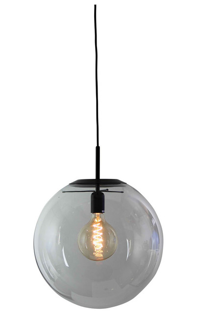 Contemporary Clear Glass Pendant Light- Matt Black Large