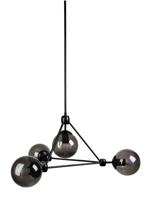 Lunar 4 Light Black Smoke Chandelier