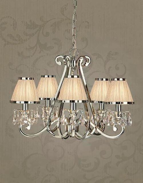 Luxuria 5 Light Chandelier in Shimmer Grey