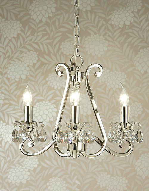 Luxuria 3 Light Chandelier In Polished Nickel With No Shades by Viore Design