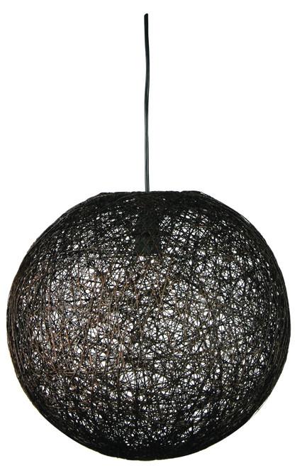 Abaca Round Pendant Light-Dark Brown