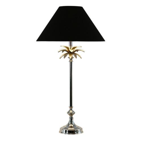 Nickel Palm Leaf Table Lampe - Black
