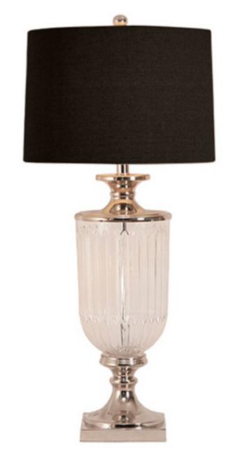 Glass Nickel Table Lamp - Black