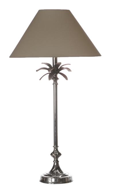 Nickel Palm Leaf Table Lampe - Taupe