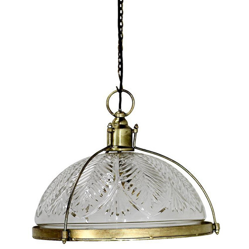 Large Cut Glass And Brass Coated Dome Pendant