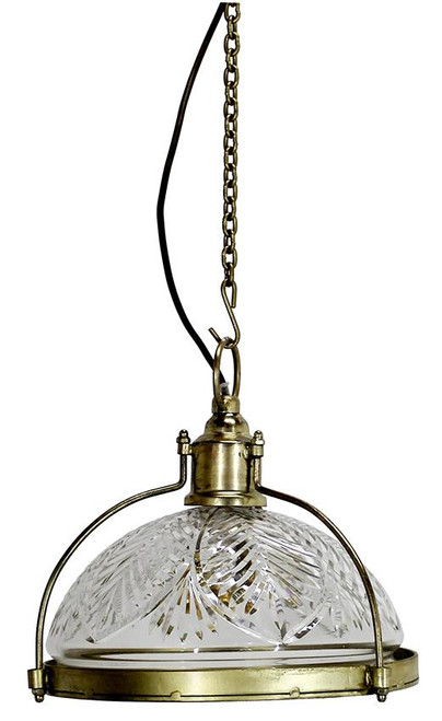 Small Cut Glass And Brass Coated Dome Pendant