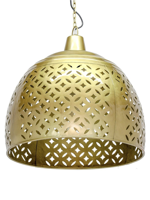 Iron Carved Brass Dome Pendant