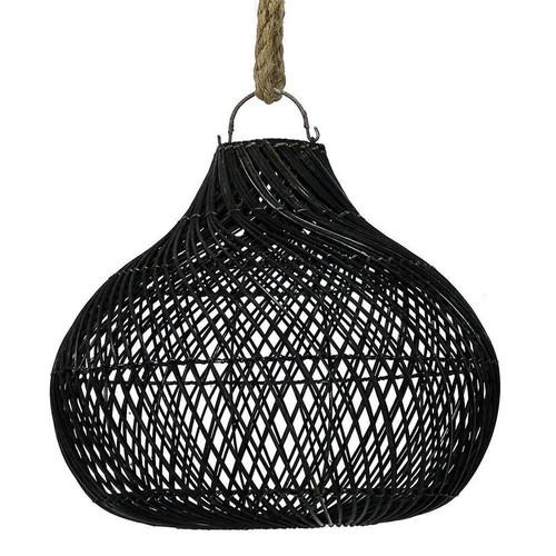 Rattan Bulb Pendant Light - Black