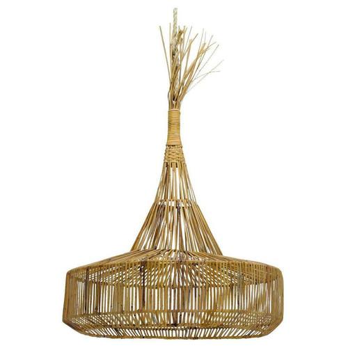 Rattan Round Cone Pendant Light - Natural