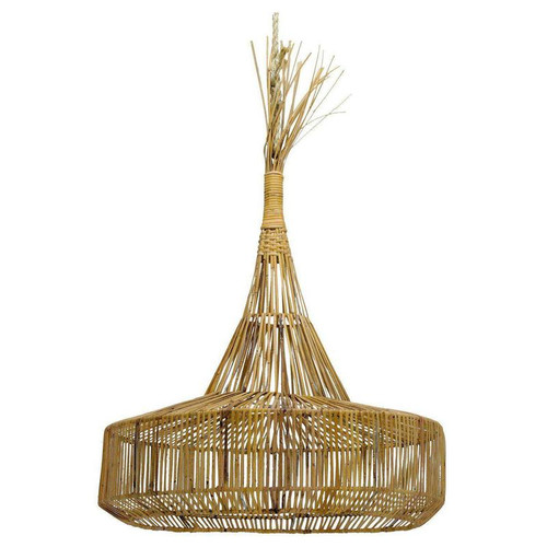 Rattan Round Cone Pendant Light - Natural