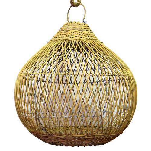 Rattan Teardrop Shaped Pendant Light -Natural