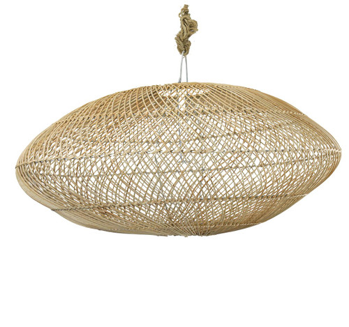 Squat Rattan Pendant - Natural
