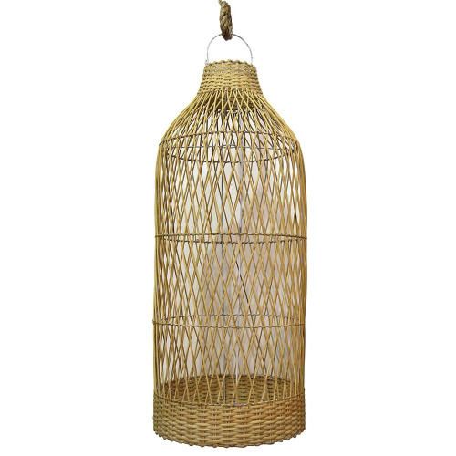 Tall Open Weave Pendant - Natural
