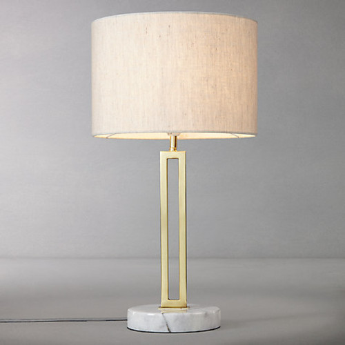 Margleus Metal Table Lamp with Marble Base - Light switched on