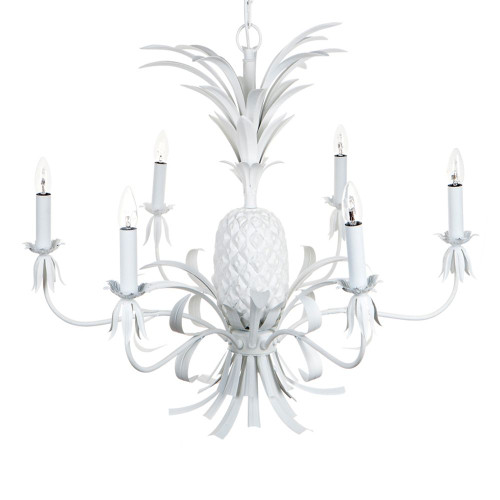 Talia 6 Arm White Pineapple Chandelier