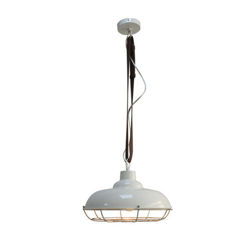 Matrix Industrial Cage Pendant Light - White