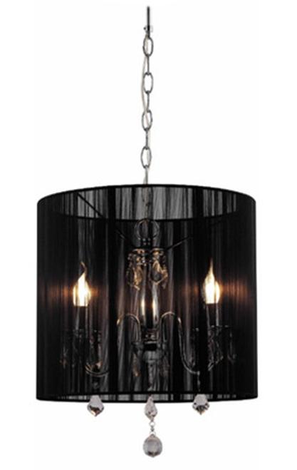 Paris 3 Light Crystal Pendant Light - Black