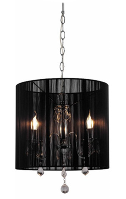 Paris 3 Light Crystal Pendant Light - Black