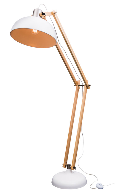 Alfred Wood Metal Floor Lamp in White