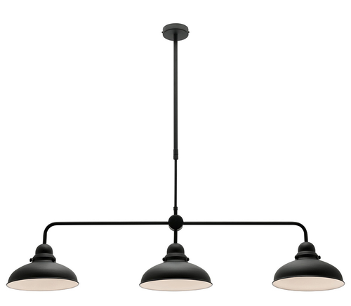 Telescopic Dome Black 3 Light Bar Pendant