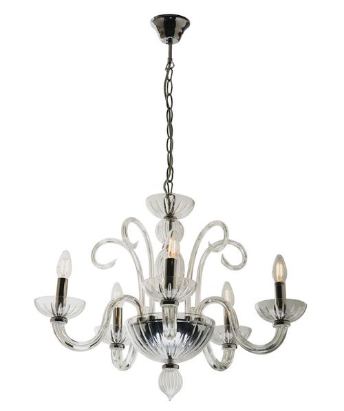 Traditional Glass 5 Light Pendant Chandelier