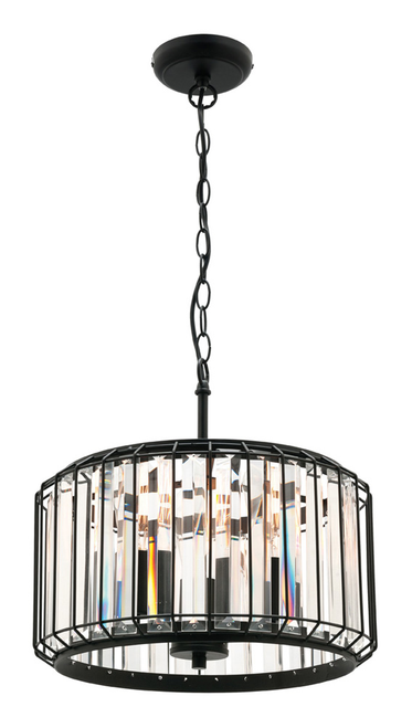 Olympia Metal and Crystal 3 Light Pendant