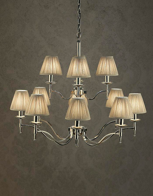 Stanford 12 Light Polished Nickel Chandelier in Grey by Viore Design