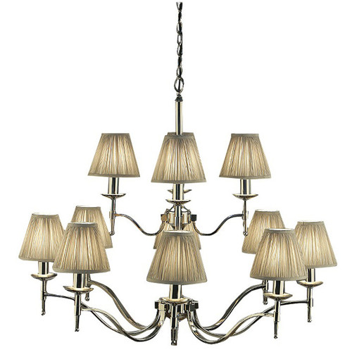Stanford 12 Light Polished Nickel Chandelier in Shimmer Grey