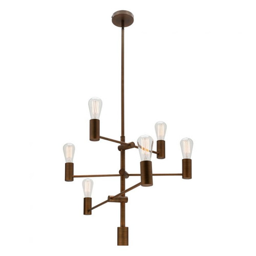 Aged Brass 6 Light Multi Arm Pendant Light