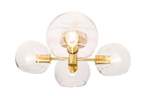 Milan 4 Light Close to Ceiling Light in Brass