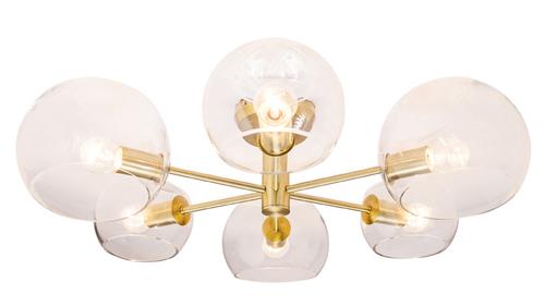 Milan 6 Light Close to Ceiling Light in Brass