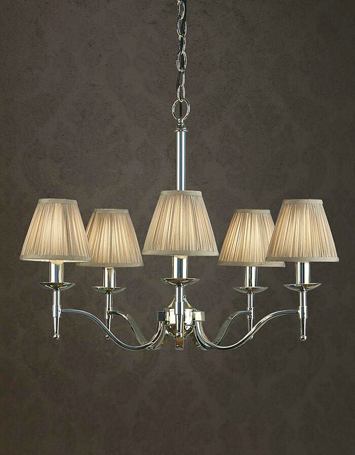 Stanford Grey 5 Light Polished Nickel Chandelier